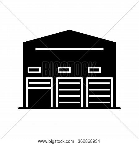 Self Storage Unit Black Glyph Icon. Industrial Building Entrance. Open And Closed Roller Doors On Wa