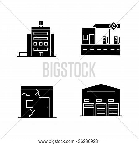 Building Constructions Black Glyph Icons Set On White Space. City Hospital Entrance. Gas Station Fro