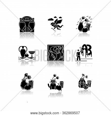 Art Movements Drop Shadow Black Glyph Icons Set. Artworks In Surrealism, Neoclassicism Styles. Impre