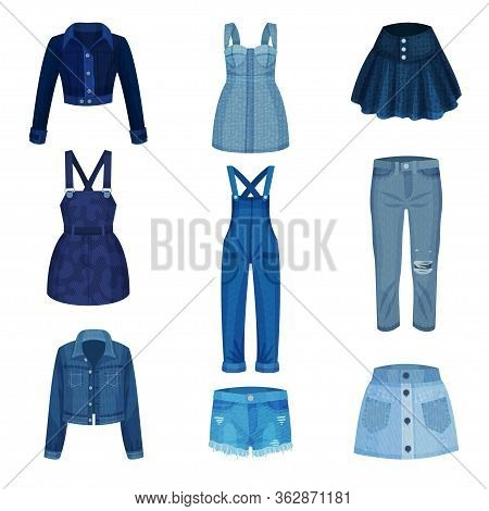 Denim Blue Clothing Items As Womenswear With Denim Jacket And Jeans Vector Set