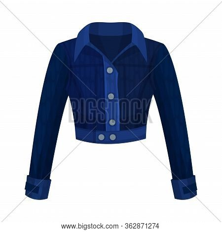 Denim Blue Buttoned Jacket With Long Sleeves As Womenswear Vector Illustration