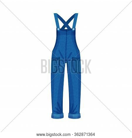 Denim Blue Overall Or Jumpsuit With Shoulder Straps And Side Pockets As Womenswear Vector Illustrati