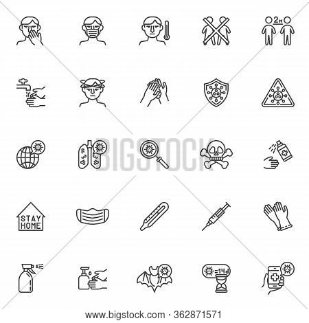 Coronavirus Prevention Line Icons Set. Linear Style Symbols Collection, Outline Signs Pack. Covid-19
