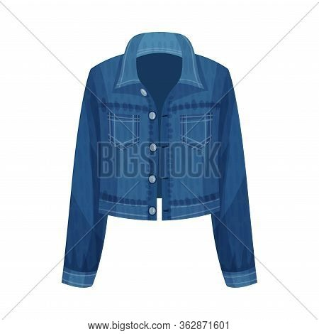 Denim Blue Unbuttoned Jacket With Long Sleeves As Womenswear Vector Illustration