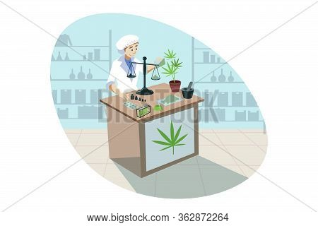 Marijuana, Cannabis, Medical Research, Analysis Concept. Young Woman Doctor Chemist Does Marijuana M