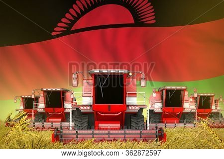 Industrial 3d Illustration Of Many Red Farming Combine Harvesters On Rye Field With Malawi Flag Back