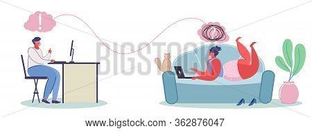 Online Psychological Help Service, Vector Flat Illustration