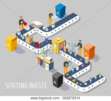 Waste Sorting Plant, Vector Flat Isometric Illustration