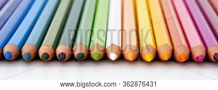 View Of Lot Of Colored Pencil On White Background