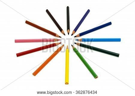 Colored Pencils In Circle Isolated On White Background