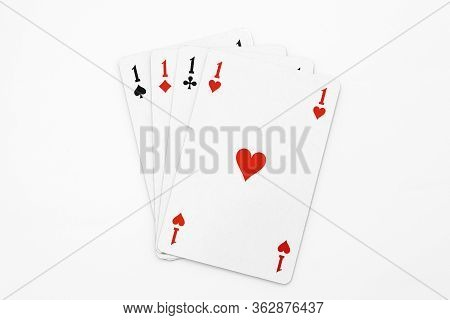 View Of Four Aces Isolated On White Background