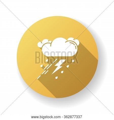 Thunderstorm Yellow Flat Design Long Shadow Glyph Icon. Bad Weather, Meteo Forecast. Strong Atmosphe