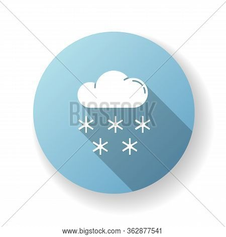 Snow Blue Flat Design Long Shadow Glyph Icon. Meteorological Forecast, Wintertime Weather Forecast.