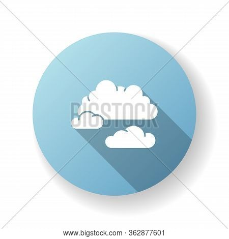 Cloudy Weather Blue Flat Design Long Shadow Glyph Icon. Overcast, Moody Sky, Meteo Forecasting. Atmo