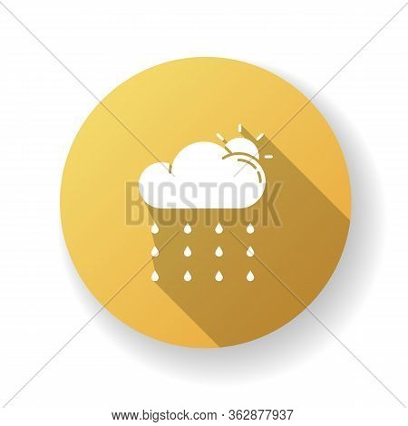 Drizzle Yellow Flat Design Long Shadow Glyph Icon. Rainy Season, Summer Rain, Meteorology. Weather F