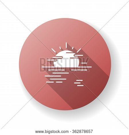 Sea Haze Red Flat Design Long Shadow Glyph Icon. Morning Fog, Meteorological Forecast, Misty Weather