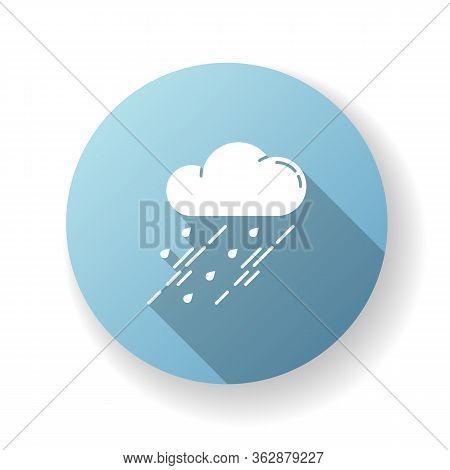 Showers Blue Flat Design Long Shadow Glyph Icon. Rainy Season, Weather Forecasting, Meteorology. Str