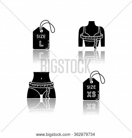 Female Size Tags And Measurements Drop Shadow Black Glyph Icons Set. Bust And Hips Circumference, Ex