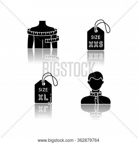 Clothing Size Tags And Body Measuring Drop Shadow Black Glyph Icons Set. Xs And Xxl Size Labels, Nec