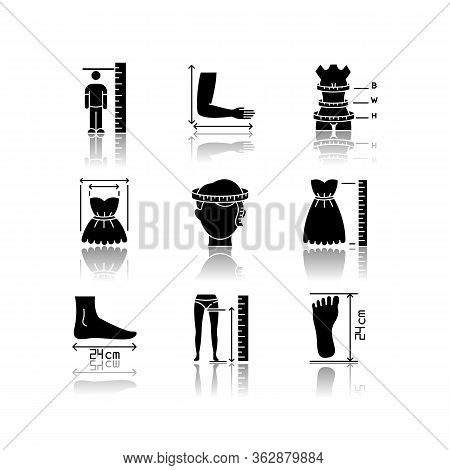 Tailor Measurements Drop Shadow Black Glyph Icons Set. Human Body Proportions And Product Dimensions
