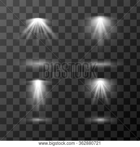 Vector Set Of Different Light Sources Isolated On Transparent Background. Design Of Light Effects Fo