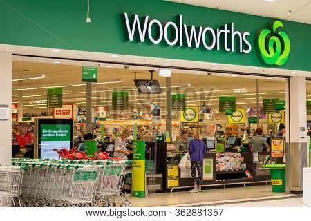 Sydney, Australia 2020-04-24. Exterior View Of Woolworths Supermarket During The Coronavirus Pandemi