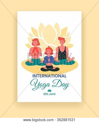 International Yoga Day - June 21 - Poster Template With Red Women, Meditating In Lotus Poses Like Pa