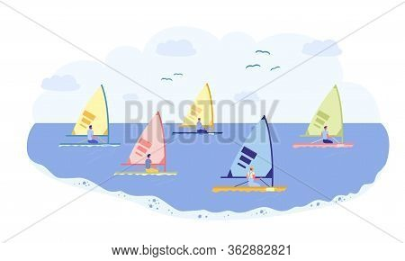Sailing Sport, Race On Professional Yacht At Sea. Man In Sportswear Settled On Comfortable Hull Boat