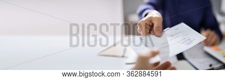 Giving Payroll Bank Paycheck To Employee Banner