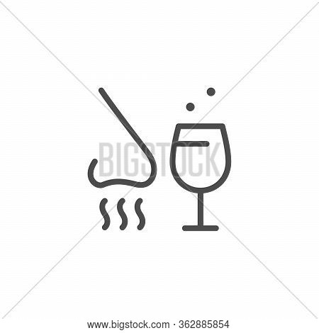 Alcohol Tasting Line Outline Icon Isolated On White. Nose And Wineglass Sign. Degustation, Scent, Ta