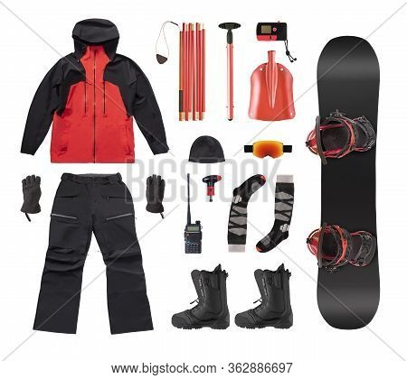 Flat Lay Of Snowboard Clothes, Accessories And Avalanche Equipment Isolated On White Background