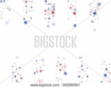 American Patriot Day Stars Background. Holiday Confetti In Usa Flag Colors For Patriot Day. Stylish