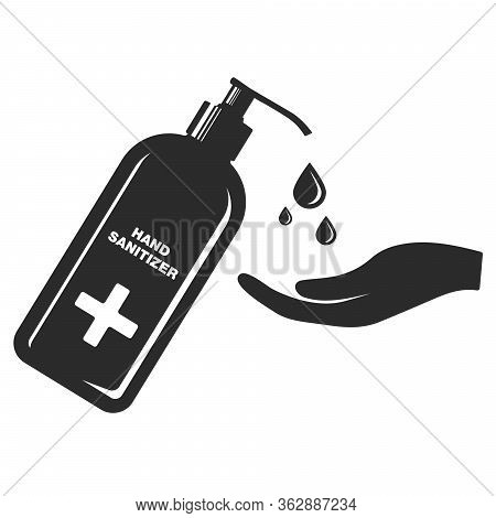 Hand Sanitizer Bottle Icon. Isolated On White Background. Hand Wash Icon Vector Illustration, Eps. S
