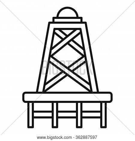 Derrick Tower Icon. Outline Derrick Tower Vector Icon For Web Design Isolated On White Background