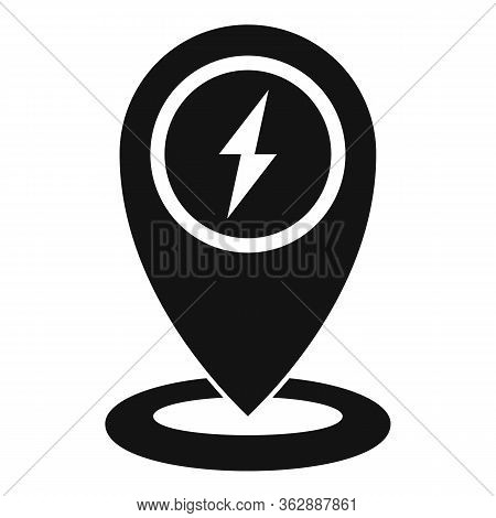 Gps Pin Charging Car Station Icon. Simple Illustration Of Gps Pin Charging Car Station Vector Icon F