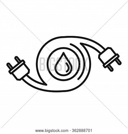 Hybrid Car Fuel Icon. Outline Hybrid Car Fuel Vector Icon For Web Design Isolated On White Backgroun