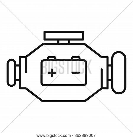 Hybrid Car Energy Motor Icon. Outline Hybrid Car Energy Motor Vector Icon For Web Design Isolated On