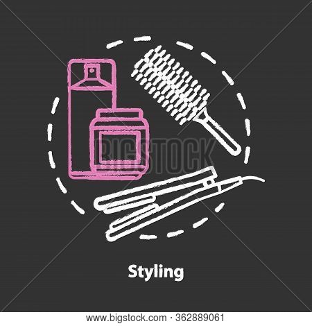 Hair Styling Chalk Concept Icon. Hair Care Products And Electric Equipment. Hairstyling And Hairdo T