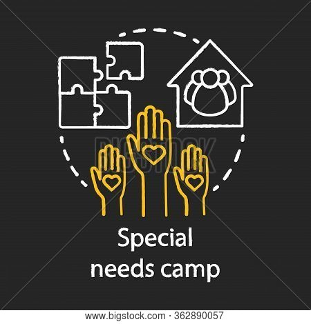 Special Needs Volunteer, Helper Camp Chalk Concept Icon. Summer Handicapped, Charity Club, Community