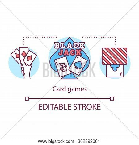 Blackjack Poker Concept Icon. Black Jack. Card Games Idea Thin Line Illustration. Gambling, Casino.