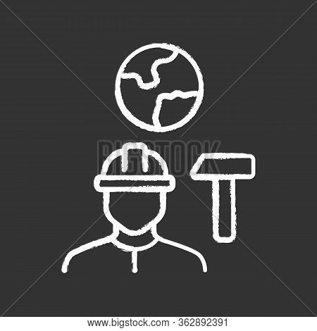 Job For Immigrants Chalk Icon. Migrant, Refugee Employment. Construction Worker. Finding Work Abroad