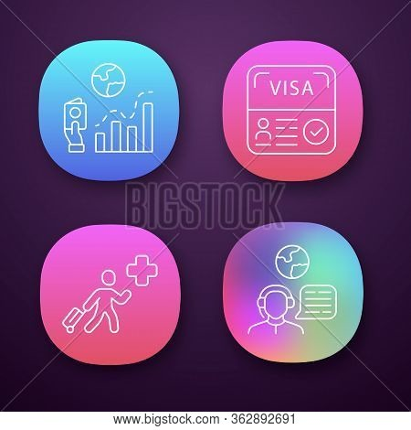 Immigration App Icons Set. Migration Rate, Start Up Visa. Humanitarian Immigrant, Travel Consultant.