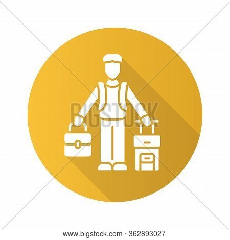 Immigrant Man Yellow Flat Design Long Shadow Glyph Icon. Refugee With Suitcase, Backpack. Travelling
