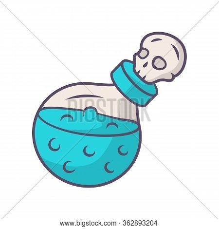 Death Potion Blue Color Icon. Alchemy And Apothecary Liquid Bottle With Skull. Magical Elixir, Drink