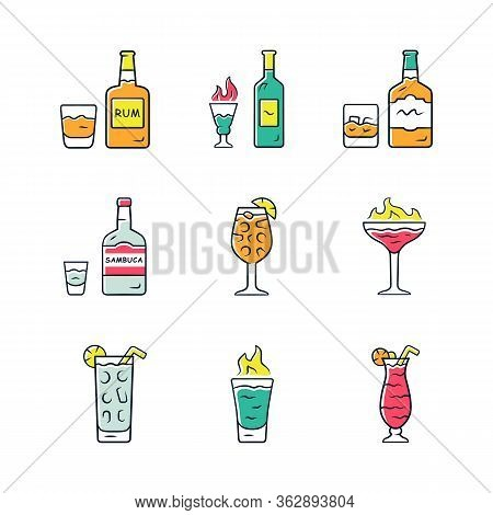 Drinks Color Icons Set. Rum, Absinthe, Whiskey, Sambuca, Sangria, Flaming Cocktail And Shot, Hurrica