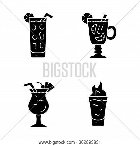 Drinks Glyph Icons Set. Cocktail In Highball Glass, Hot Toddy, Pina Colada, Flaming Shot. Alcoholic
