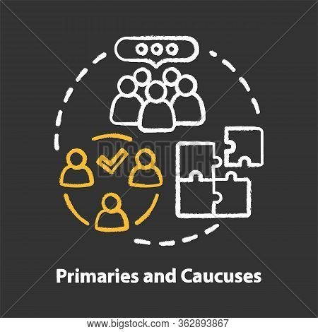 Elections Chalk Concept Icon. Primaries And Caucuses Voting Day Idea. Official, Governmental Electio