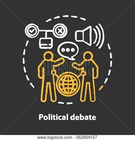 Elections Chalk Concept Icon. Political Debate, Talking To Election Opponent Idea. Political Campaig
