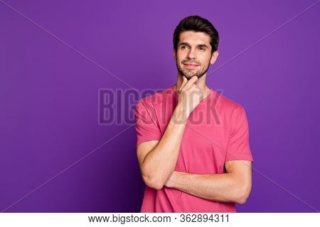 Photo Of Attractive Handsome Guy Good Mood Arm On Chin Dreamer Look Interested Empty Space Intellige