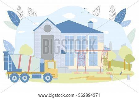 Country House Building Process Vector Illustration. Suburb Residence Construction. Facade Wall Paint